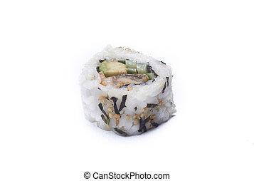 ura maki unagi sushi - isolated on white background