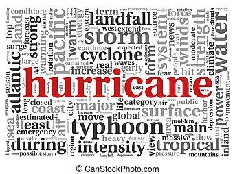 uragano, concetto, parola, nuvola, etichetta