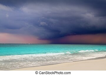 uragano, tempesta tropicale, inizio, mare caraibico