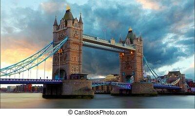 uralkodik bridzs, alatt, london, uk, idő, á-hang