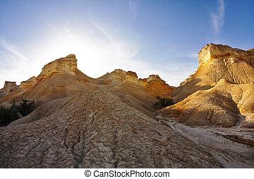 uralt, berge, in, wüste, auf, a, sonnenuntergang