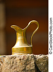 uralt, bronze, blumenvase