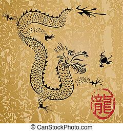 uralt, chinesischer drache