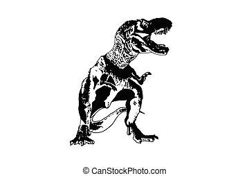 uralt, dinosaurierer, vektor, tiere, t-rex