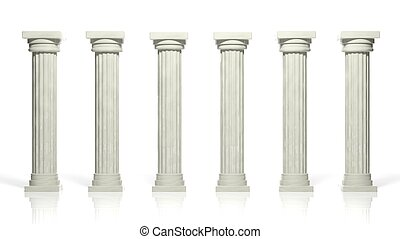 uralt, freigestellt, pfeiler, weißer marmor, reihe