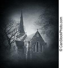 uralt, gespenstisch, aus, halloween, hintergrund, kirche, rauchig