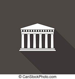 uralt, griechische architektur, langer, schatten