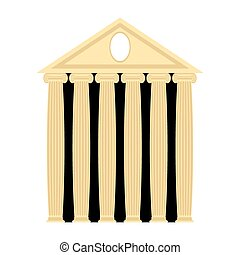 uralt, griechischer , temple., architektur, mit, columns., vektor, illustration.