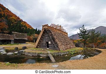 uralt, japan, shirakawago, dreieckig, szene, herbst, hütte,...