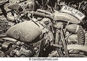uralt, militaer, motorräder