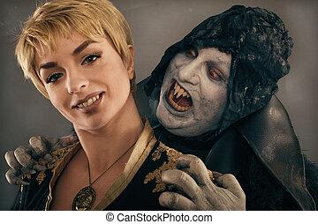 uralt, monster, vampir, dämon, bisse, a, frau, neck., halloween, fantasie