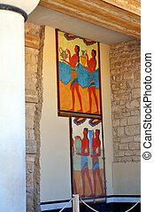 uralt, palast, frescos, knossos, kreta, ruinen