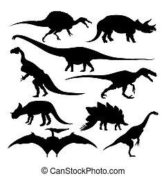 uralt, tiere, freigestellt, dinosaurierer, silhouetten, ausgestorben, arten