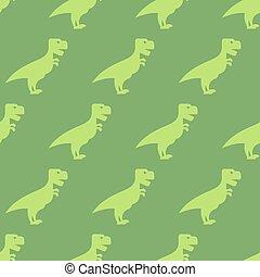 uralt, tiere, stoff, jura, dinosaurierer, predator., verzierung, pattern., seamless, beschaffenheit, hintergrund, period., grün, t-rex., groß, spaß, wiederholen, childrens