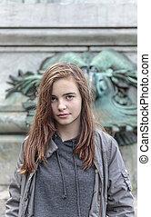 uralt, verzierung, teenager, weibliche , front, porträt