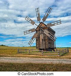 uralt, windmühle, auf, der, field., ukraine