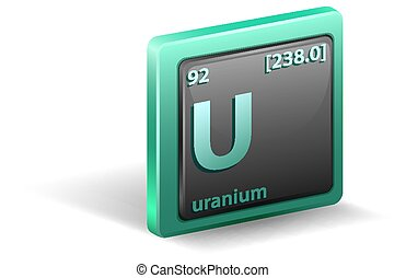 Uranium chemical element. Chemical symbol with atomic number and atomic mass. illustration
