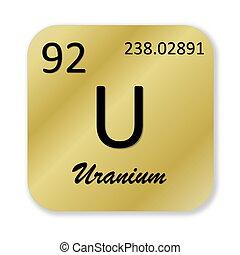 Uranium element - Black uranium element into golden square...