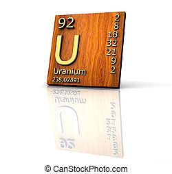 Uranium form Periodic Table of Elements - wood board - 3d...