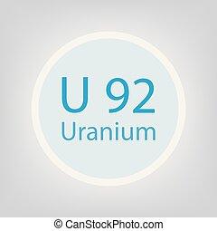 Uranium U chemical element icon- vector illustration