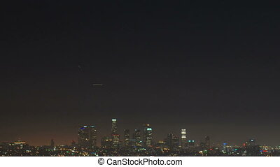 URB-0010-Downtown LA at night tilt - Beautiful night scenic...