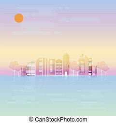 urbain, été, conception abstraite, fond, ville
