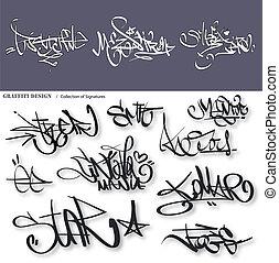 urbain, étiquettes, graffiti, signature