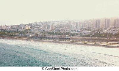 urbain, aérien, ondulation, sommet, haifa., côte, 4k, vagues, azur, vue océan