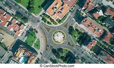 urbain, aérien, sommet, bas, trafic, détourné, cordoue, espagne, vue
