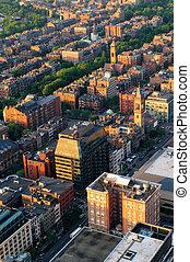urbain, aérien, ville, vue