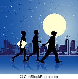 urbain, adolescents, scène, nuit