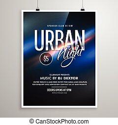 urbain, affiche, aviateur, musique, gabarit, nuit