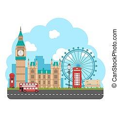 urbain, affiche, voyage, england., conception, fond