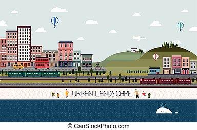 urbain, agréable, conception, paysage, plat
