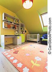 urbain, appartement, -, salle, coloré