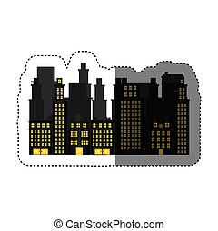 urbain, appartements, résidentiel, autocollant, scène, cityscape, icône