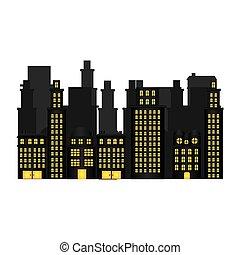 urbain, appartements, résidentiel, scène, cityscape, icône