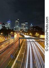 urbain, autoroute, nuit