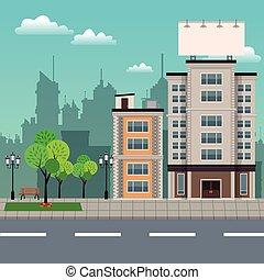 urbain, bâtiments, arbre, streetscape, parc, brench