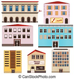 urbain, bâtiments, collection
