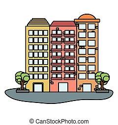 urbain, bâtiments, dessin animé