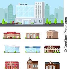 urbain, bâtiments, ensemble, icône