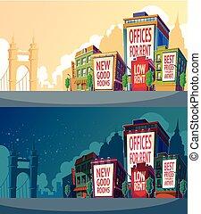urbain, bâtiments, ensemble, illustration, wall., grand, vecteur, panneau affichage, dessin animé, paysage