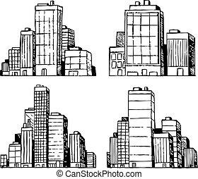 urbain, bâtiments, gratte-ciel, main, vecteur, dessiné