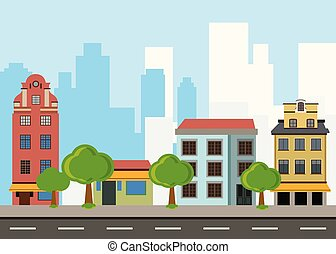 urbain, bâtiments, housesand, moderne, grand, fond, paysage