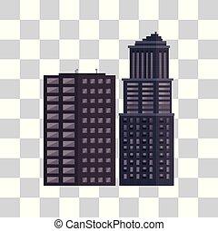 urbain, bâtiments, isolé