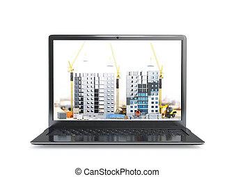 urbain, bâtiments, portable, paysage., écran, multi-storey, illustration, site., construction, informatique, gratte-ciel, sous, bâtiment, 3d