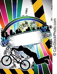 urbain, bmx, grunge, affiche