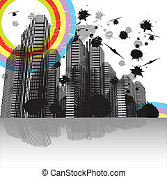 urbain, business, paysage