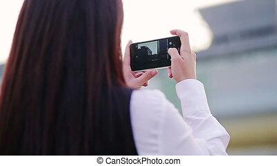 urbain, businesslady, images, prendre, jeune, environnement